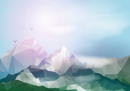 Geometric Mountain Background - Vector Illustration