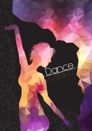 hip hop girl: Silhouette of Dancing Woman on Abstract Background Party Flyer Template - Vector Illustration