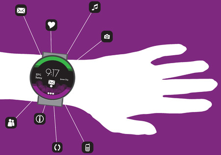 data synchronization: Concept of Smart Watch On a Hand with Mobile App Icons in a Net - Vector Illustration