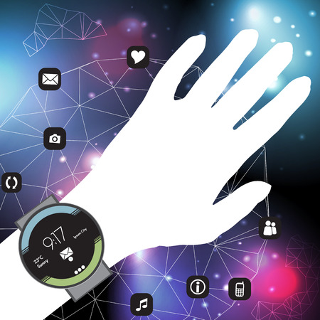 wearable: Concept of Smart Watch On a Hand with Mobile App Icons in a Net - Vector Illustration