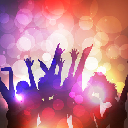 Silhouettes of Dancing People at Summer Party - Vector Illustration