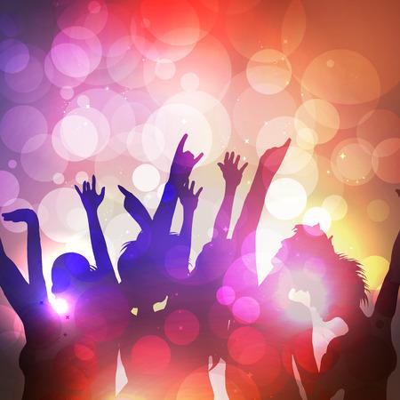 Silhouetten van dansende mensen op Summer Party - Vector Illustratie Stock Illustratie