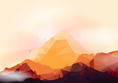 Geometric Mountain and Sunset Background - Vector Illustration Vector