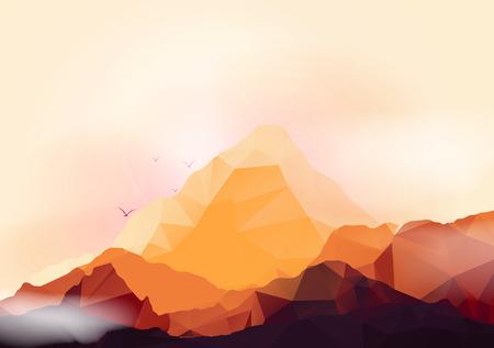 Geometrische Berg en Zonsondergang Achtergrond - Vector Illustratie