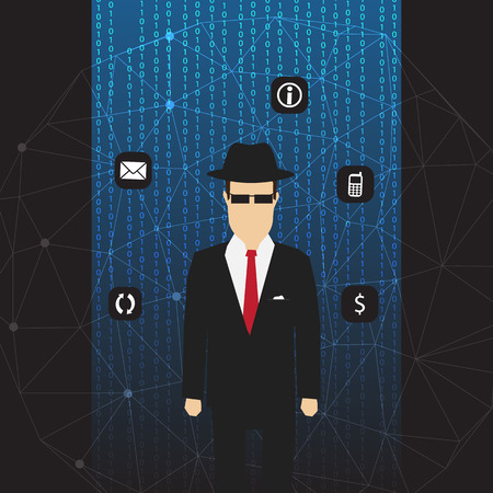 foreign policy: Agent of Information on Abstract Net Background with Code and Icons - Vector Illustration