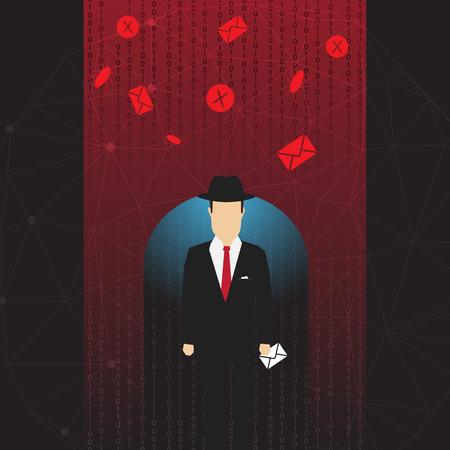 Antivirus and Firewall Umbrella Concept - Vector Illustration Vector