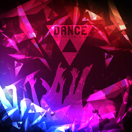 Dance Party Poster Background Template - Vector Illustration Çizim