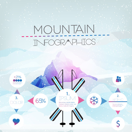 tallest: Mountains Infographic - Vector Illustration