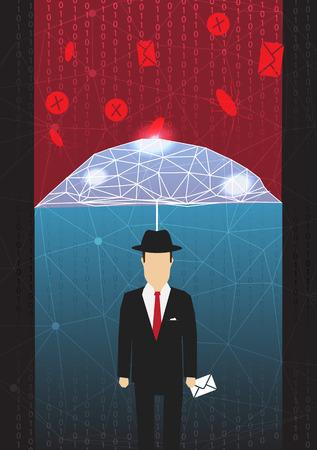 an antivirus: Antivirus and Firewall Umbrella Concept