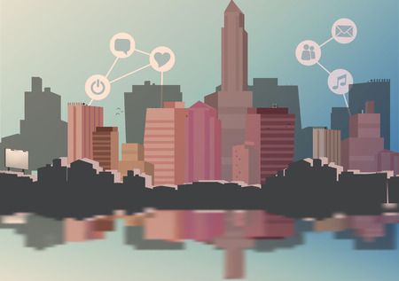 metropole: Abstract City Skyline with Social Media, Network and Web Design Elements  Illustration