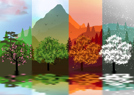 Four Seasons Banners with Abstract Forest and Mountains, Lake Reflection  Vectores