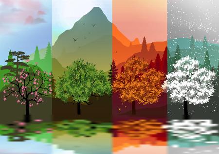 Four Seasons Banners met abstracte bos en Bergen, Bezinning