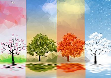 cuatro elementos: Banners de cuatro temporadas con los árboles y el lago Reflexión Vectores