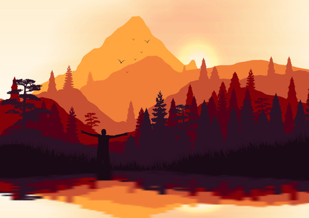 smoky mountains: Golden Sunset Panorama of Mountain Ridges and Pine Forest with Lake Reflection  Illustration