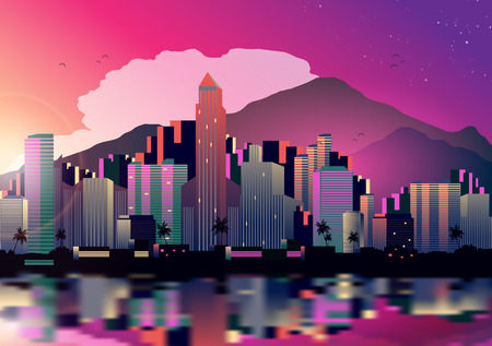 Tropical City Skyline at Night with Reflection Background - Vector Illustration  イラスト・ベクター素材