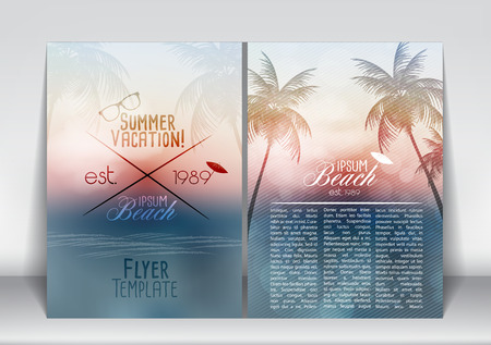 tropical beach: Summer Vacation Flyer Design with Palm Trees and Paradise Island - Vector Illustration