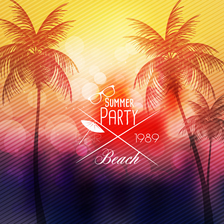 tree disc: Summer Beach Party Flyer Template - Vector Illustration