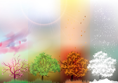 Four Seasons Banners with Abstract Trees - Vector Illustration  イラスト・ベクター素材