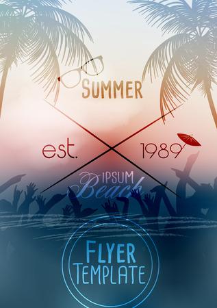 Summer Beach Party Flyer Template - Vector Illustration