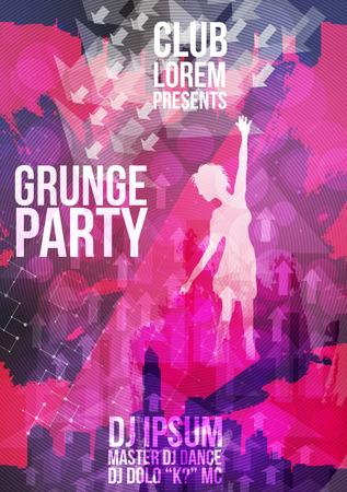 baile hip hop: Grunge Danza plantilla de dise�o de la fiesta - ilustraci�n vectorial