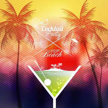 happy hours: Cocktail Party Invitation Poster - Vector Illustration Illustration