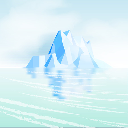 Iceberg with Reflection - Vector Illustration
