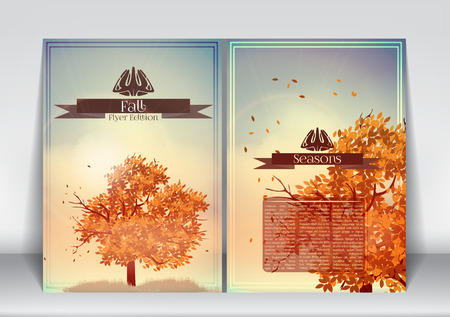fall trees: Abstract Flyer Brochure Design Template of Fall Season with Abstract Trees - Vector Illustration