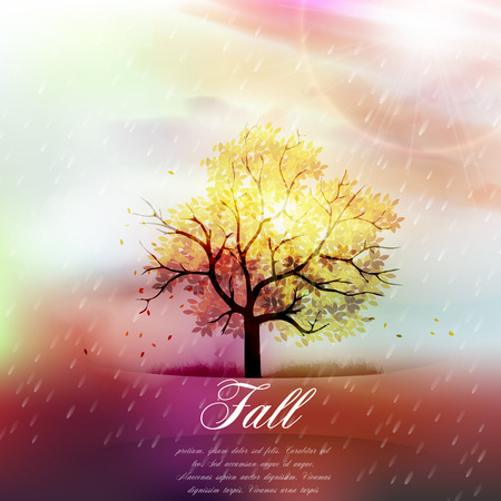 fall background: Fall Background - Warm Autumn Colors, Branch Covered with Fall Leaves  and Rain - Vector Illustration