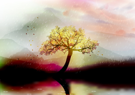 Beautiful Floral Tree in Front of Mountains with Lake Reflection in the Rain - Vector Illustration 向量圖像