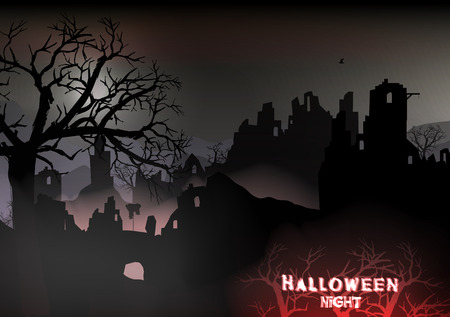 barren: Horror Halloween Background Landscape with Ruins of a Castle and Dead Trees
