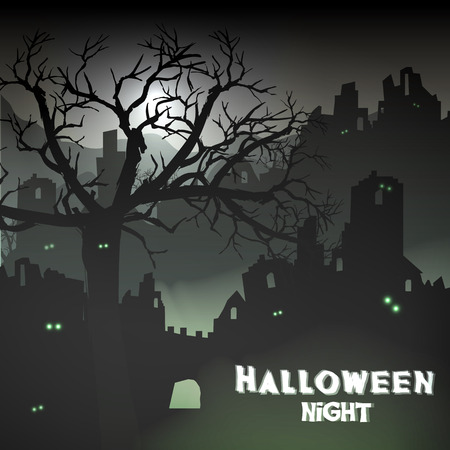 bleak: Horror Halloween Background Landscape with Ruins of a Castle and Dead Trees