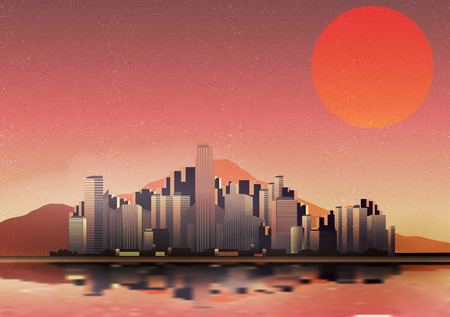 Retro City in a Desert with Reflection Background - Vector Illustration Vector