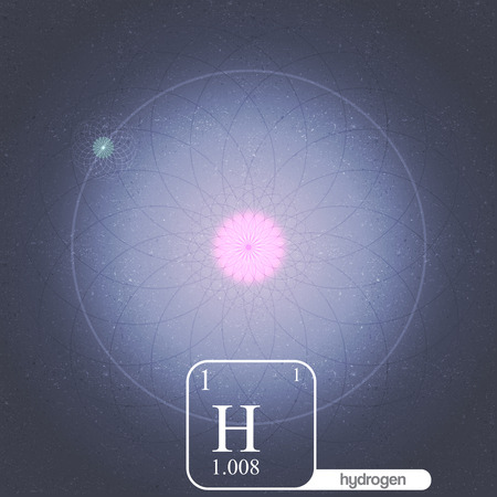 photons: Hydrogen Atom with Electron Orbits and Properties - Vector Illustration