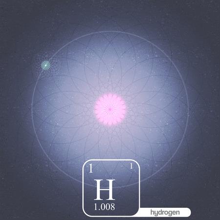 hidrógeno: Átomo de hidrógeno con electrones Órbitas y Propiedades - Ilustración vectorial Vectores