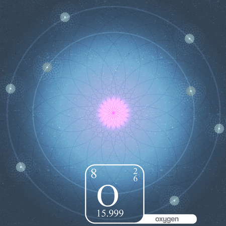oxygen: Oxygen Atom with Electron Orbits and Properties - Vector Illustration