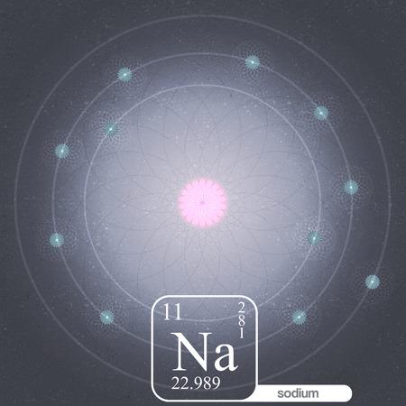 subatomic: Sodium Atom with Electron Orbits and Properties - Vector Illustration Illustration