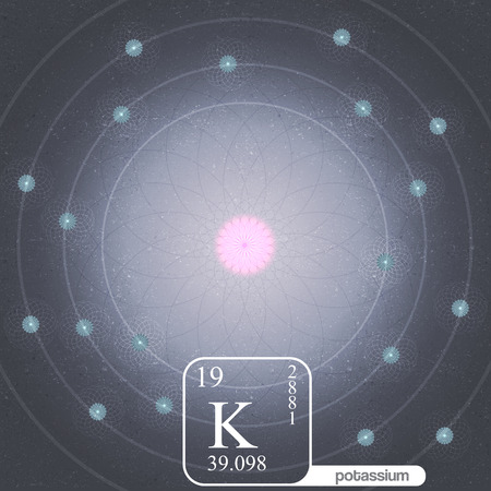 potassium: Potassium Atom with Electron Orbits and Properties - Vector Illustration Illustration