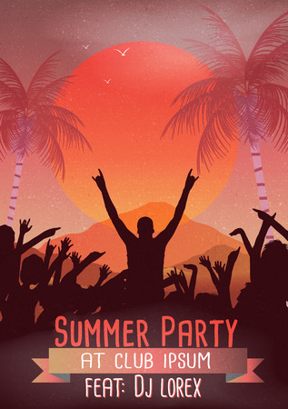 Retro Summer Beach Party Flyer - Vector Illustration  イラスト・ベクター素材