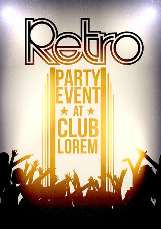 Retro Party Invitation Poster Design - Vector Illustration Vector