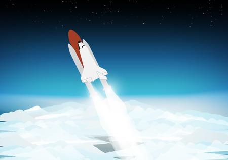 Space Shuttle Boven de Wolken - Vector Illustratie
