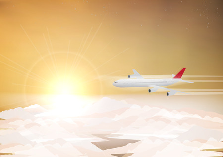 plane vector: Passenger Plane Above the Clouds with Sunrise - Vector Illustration Illustration