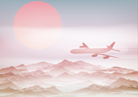Passenger Plane Above Mountains with Sunrise - Vector Illustration Vector
