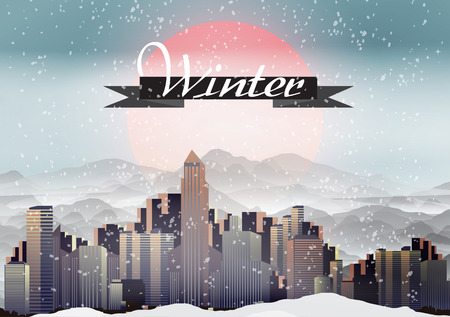 Retro City during Winter Background - Vector Illustration Vector