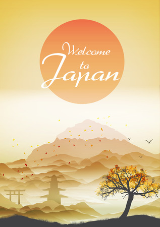 temples: Japanese Vintage Background Postcard Template - Vector Illustration