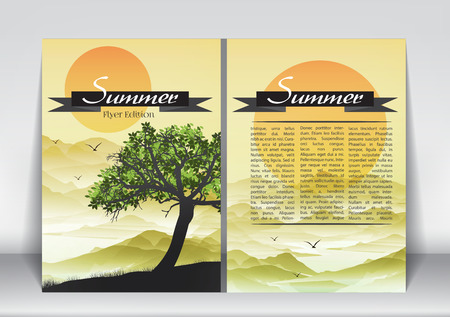 sumer: Abstract Flyer Brochure Design Template of Sumer Season with Abstract Trees - Vector Illustration Illustration