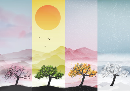 autumn background: Four Seasons Banners with Abstract Trees - Vector Illustration Illustration