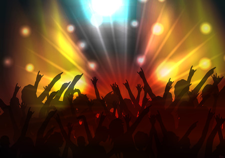 crowd happy people: Party Crowd with Disco Spot Lights Background Template  Illustration