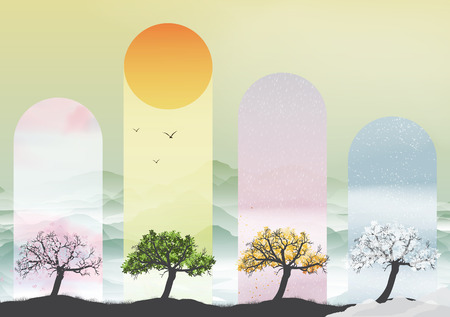 Four Seasons Banners with Abstract Trees   イラスト・ベクター素材