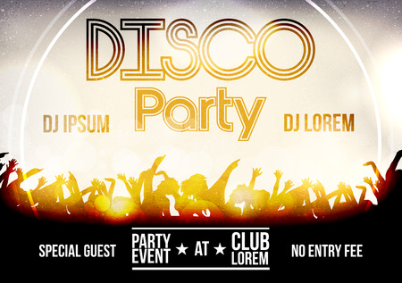 raised hand: Disco Party Poster Template - Vector Illustration