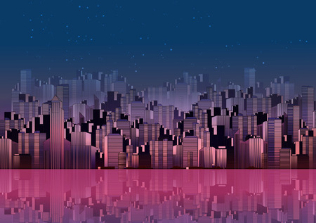 city background: Modern City Skyline Landscape at Night with Skyscraper Offices and Reflection in Water - Vector Illustration